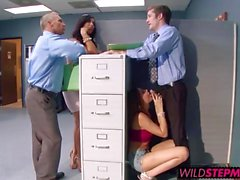 Hot teacher bangs a tall brunette babe in his office
