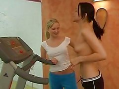 Teen lesbians working out
