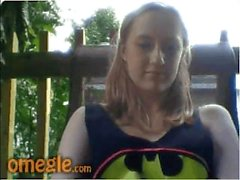 Playful girl in the backyard - Omegle dare game