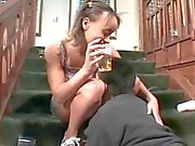 Teens Beer Soaked Cunt And Asshole Fucked On Stairs