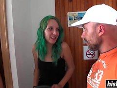 Green haired girl Liz Rainbow fucked