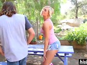 Blonde cutie gets pounded hard outdoors