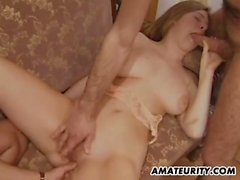 Busty amateur girlfriend double penetration with facial