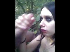 Cute Pierced Goth Girl In Stockings Sucking Cock Outdoors