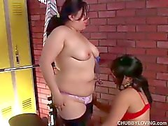 Chubby young lesbians play with wet pussy