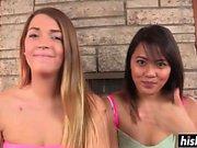 Hot babes share a pulsating schlong
