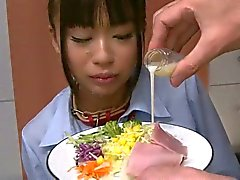 Japanese schoolgirl sucks cock and drinks cum