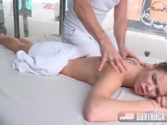 BoxTruckSex - Skinny Teen gets her first public cumshot