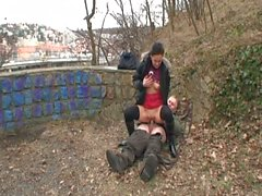 Czech babe screwed by a sleazy old man outdoors