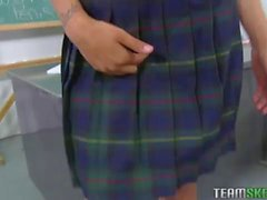 Sexy teen sucks and fucks in the classroom