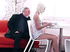 HD Tiny blonde small-tits fucked by old man
