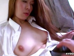 Dicking down an Asian chick with a dick and a vibrator