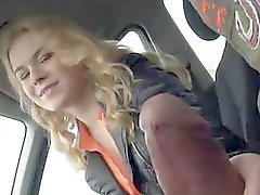 Curly haired amateur teen girl Nishe fucks in the backseat