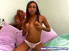 College Ebony Awesome Blowjob And Handjob