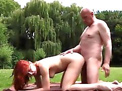 Asian massage old man An virginal game of ping pong turns in