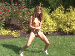 Cute Sexy Chick Strips & 'bates... Outdoors Sunny Garden