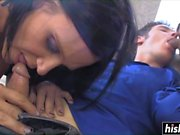 Horny girl and a guy suck a dick