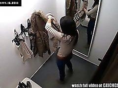 Voyeur Spycam Gorgeous Teen Brunette Fitting Lingerie