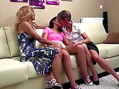 Two mature lesbians sharing a teen pussy