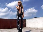 Eroberlin 18yo Cassandra leather teeny outdoor blond skinny