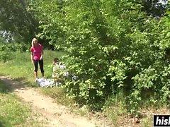Clara Moon gets plowed hard outdoors