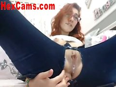 Hot Slut Dildos Pussy Through Jeans 1