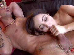 Intense anal scene by a French debutante Faustine Karel and Squirting
