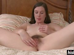 Kinky chick plays with her hairy pussy