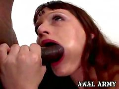 Naughty cutie Kami Andrews munching black cock