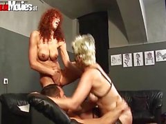 Mature threesome in the basement