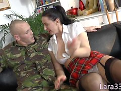 Ballgagged UK milf analfucked while cuffed