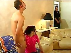 Skinny Teen Babysitter Chloe Gets DPd By Friends