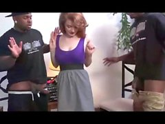 Redhead tee gets fucked by 2 BBC during interview
