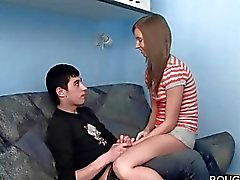 Hot brunette chick gets abused by her BDSM loving BF