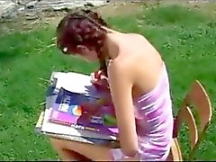 Skinny teen beauty bends over for a fat rod
