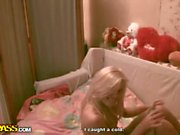 Hot blonde teen belle strips and misbehaves