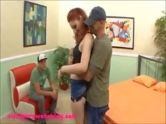 pail white skin red haed teen sluw wife gets banged while husband watches