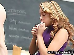 High school smoking teen sucks and fucks