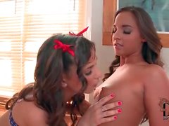 Sexy cheerleader teens sucking on titties