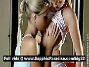 Angelic blonde lesbias kissing and licking nipples and having lesbian love