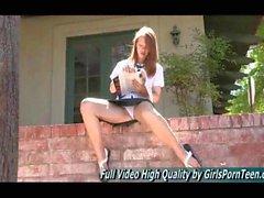 Ginger schoolgirl shows off her upskirt outside