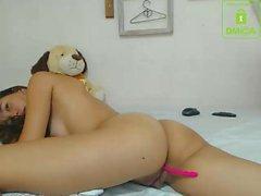 Asian teen masturbate with big toy