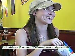 Jenny sexy brunette girl public flashing tits