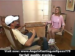 Adorable sexy superb blonde cheerleader talking with the coach
