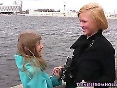 Blonde teen dyke tasting
