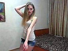 Cute blonde teen strips and dances on webcam