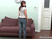 Dark haired teen strips during her casting