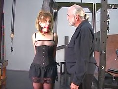 Blonde freaky girl do want to be bondaged on strange slave room