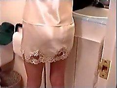 young girl in silky half slip
