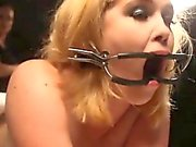 Open mouth gagged sub spanked by femdom mistress